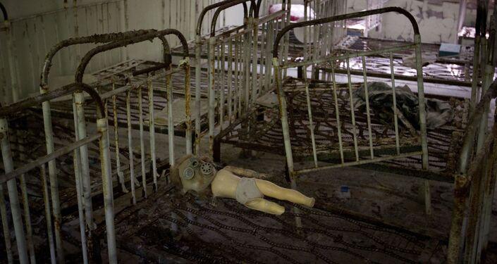 Jardim de infância abandonado em Chernobyl