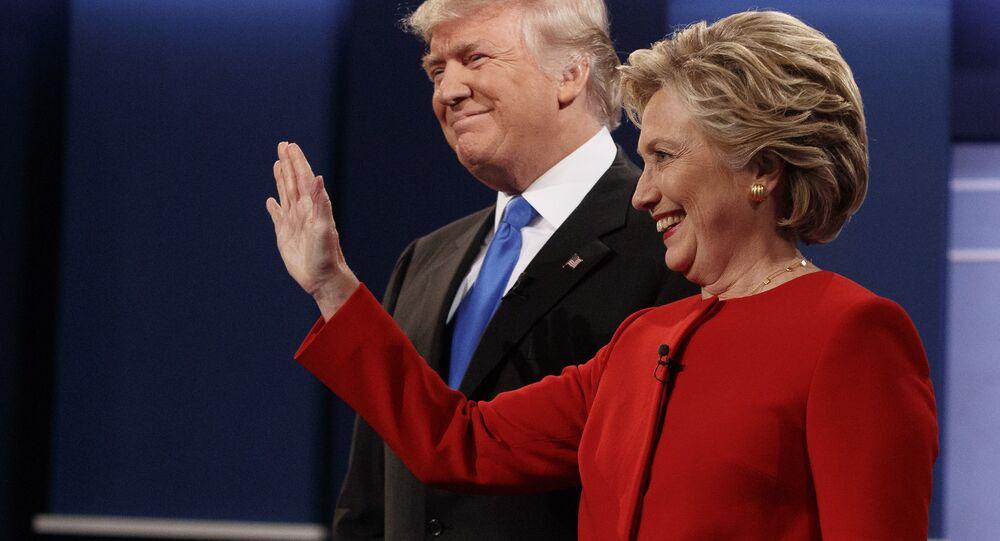 Donald Trump e Hillary Clinton antes do primeiro debate presidencial na Universidade de Hofstra