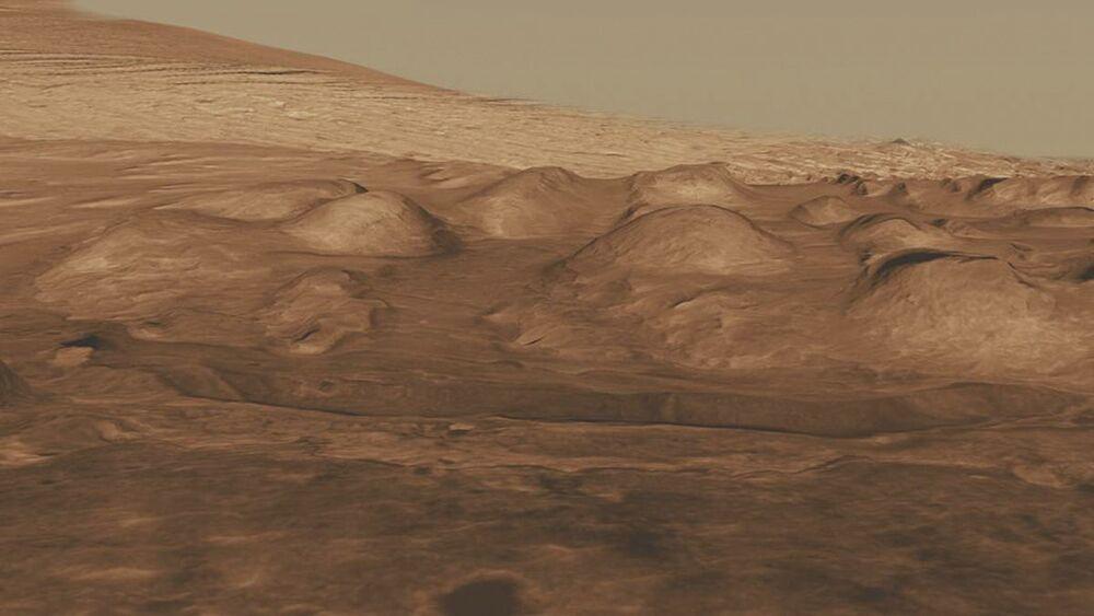 Montanhas na cratera Gail, em Marte