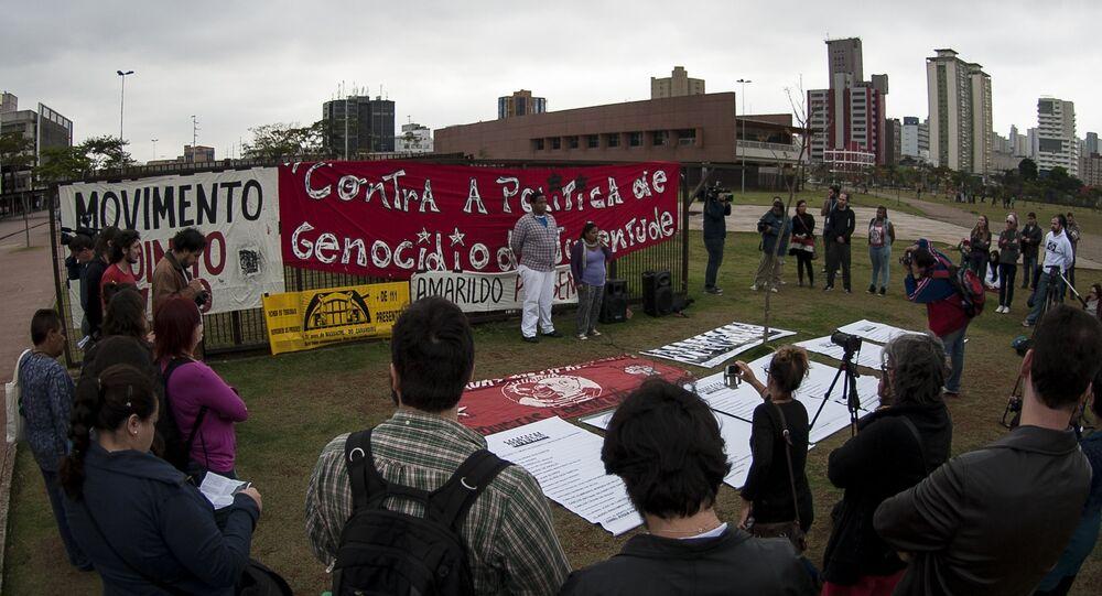 Ato realizado em 2013, em São Paulo, lembrando os 21 anos do massacre do Carandiru