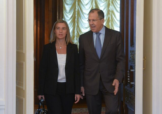 Russian Foreign Minister Sergey Lavrov and his Italian counterpart Federica Mogherini