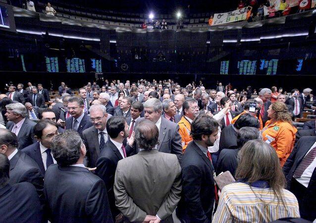 Deputados na sessão