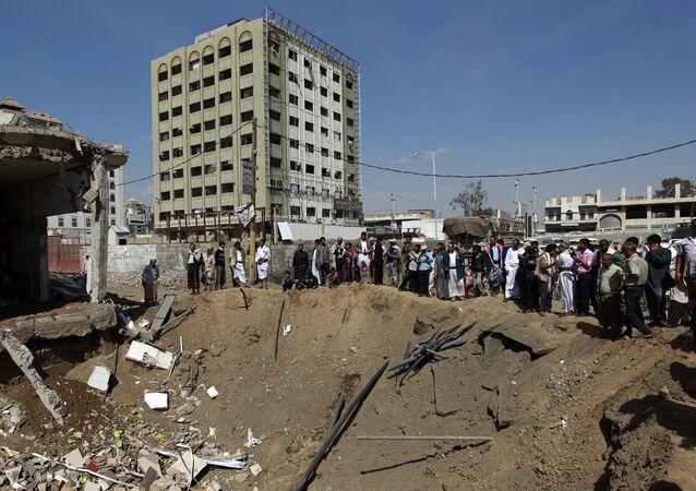 Ataque da coalizão saudita em Sanaa (Arquivo)