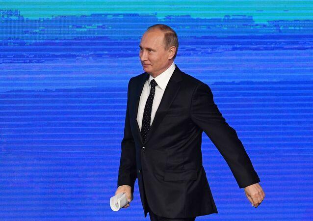 Presidente russo Vladimir Putin durante o fórum de investições Russia Calling!, Moscou, Rússia, 12 de outubro de 2016