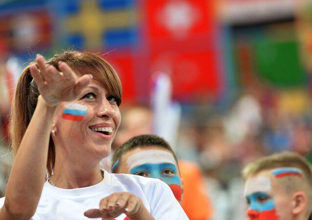 Uma torcedora na FINA 2015
