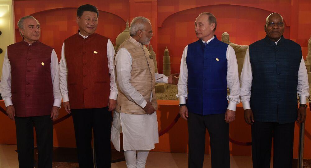 Foto de família dos líderes dos BRICS em Goa, Índia