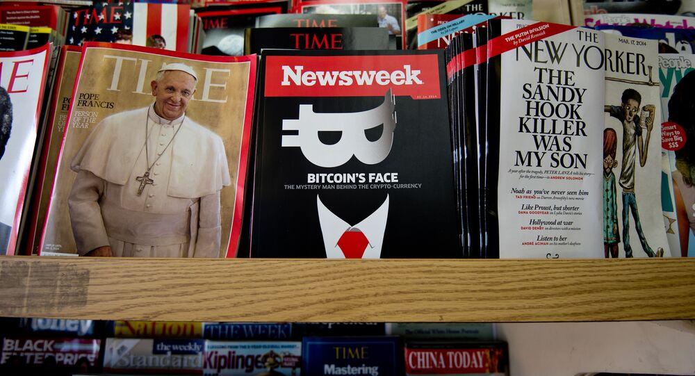 Exemplar da revista Newsweek em uma loja em Washington, EUA, 2014 (foto de arquivo)