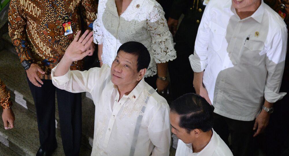 Presidente das Filipinas, Rodrigo Duterte durante visita a Jacarta (Indonésia), setembro de 2016