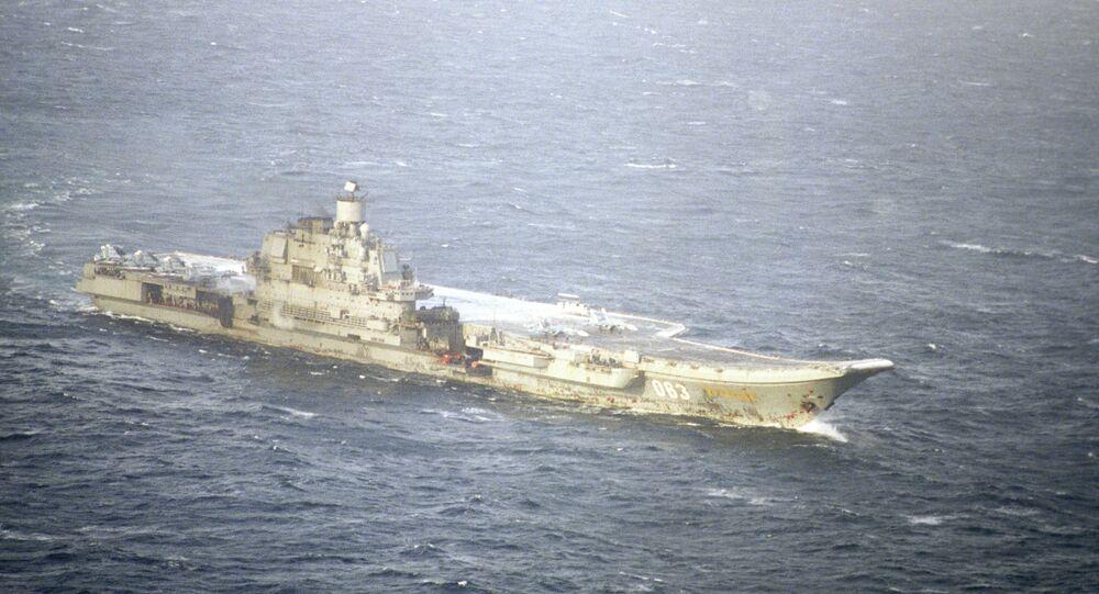 Porta-aviões pesado da Frota do Norte da Rússia Admiral Kuznetsov (foto de arquivo)