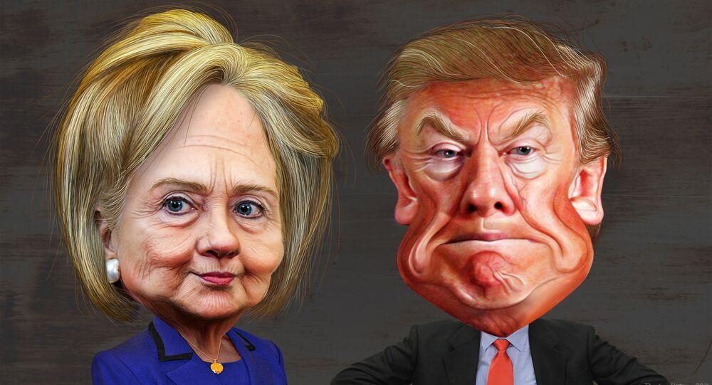 Caricatura de Clinton e Trump