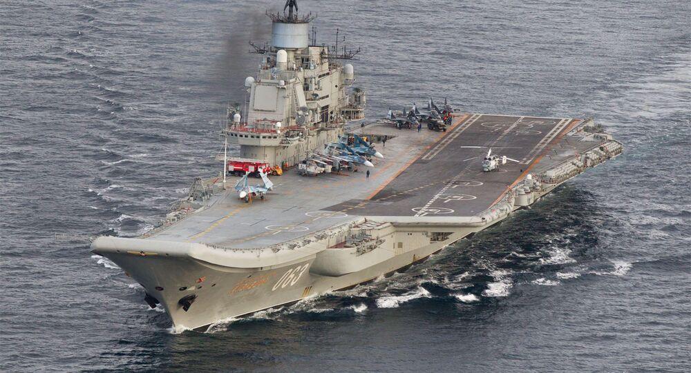 Porta-aviões russo, Admiral Kuznetsov nas águas internacionais da Noruega, 19 de outubro de 2016
