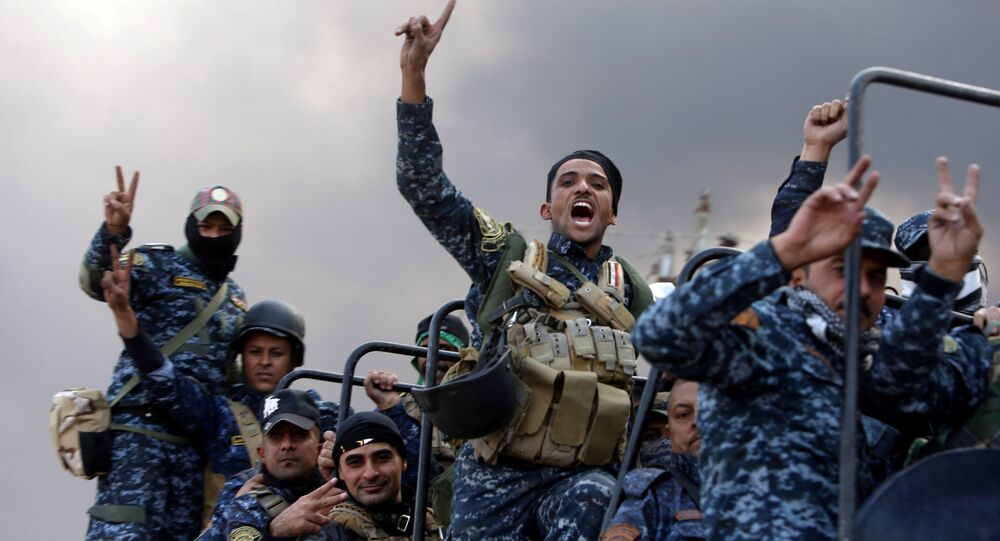 Forças de segurança iraquianas durante operação contra extremistas em Mossul, Iraque, 19 de outubro de 2016