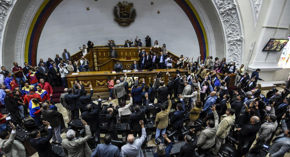 Votação em sessão especial da Assembleia Nacional em Caracas