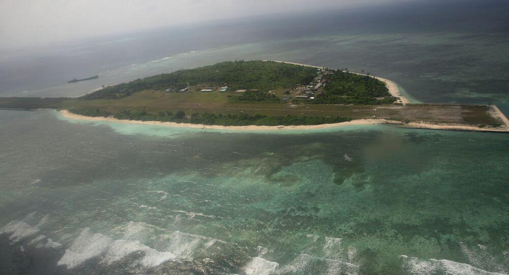 Imagem da ilha Thitu, parte do grupo disputado das ilhas Spratley no mar do Sul da China