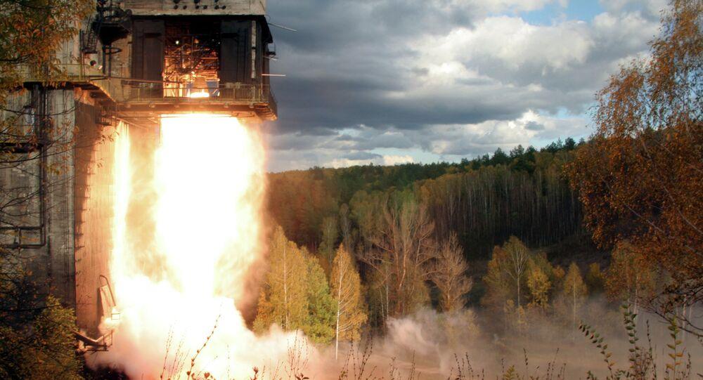 An NK-33 Rocket Engine Undergoes a Test Fire Outside of Samara, Russia