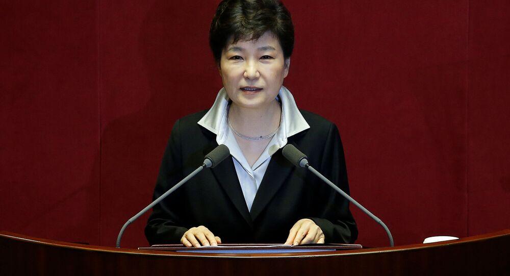 A presidente sul-coreana Park Geun-hye em 24 de outubro de 2016