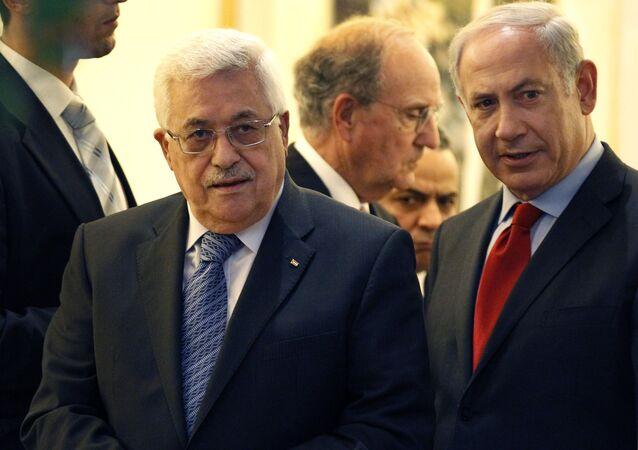 Primeiro-ministro israelense Netanyahu e o presidente palestino Abbas