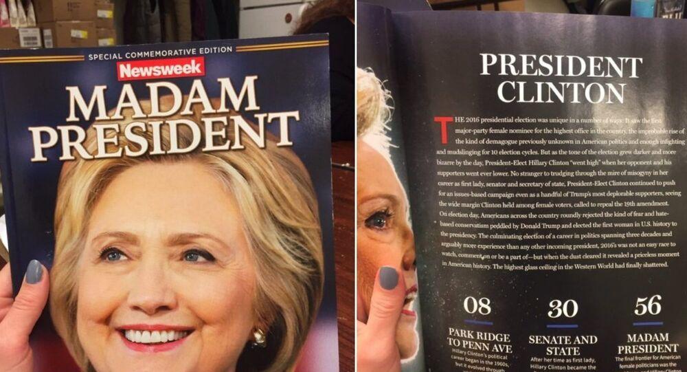 Capa da revista Newsweek mostra Clinton como presidente dos EUA