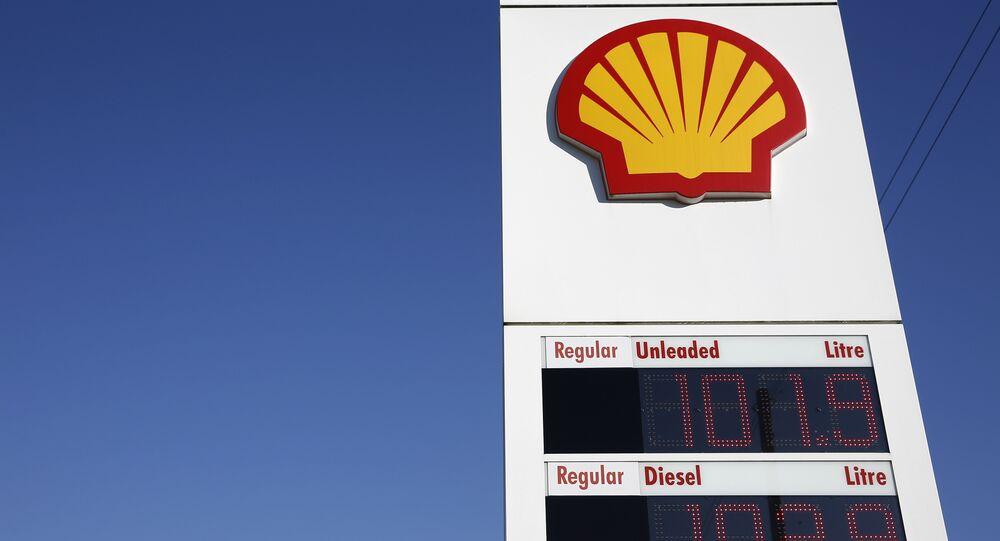 Logotipo da empresa petrolífera Shell num posto de gasolina