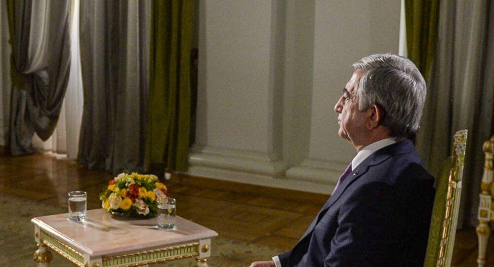 Entrevista do presidente da Armênia, Serj Sargsyan, ao diretor da agência de notícias 'Rossya Segodnya', Dmitry Kisilev, para a Sputnik Armenia