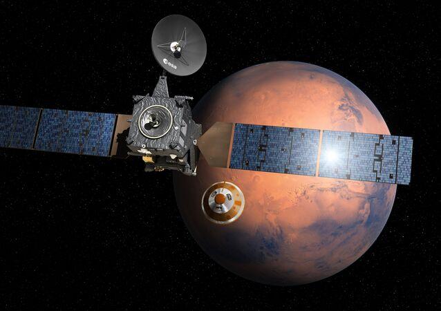 Imagem ilustrativa da separação do módulo, chamado Schiaparelli, indo a Marte