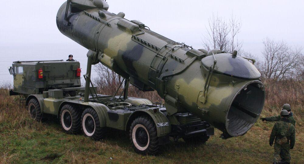 Variante móvel do lançador de mísseis de cruzeiro P-35; a instalação na Crimeia receberá silos estacionários para este tipo de munição