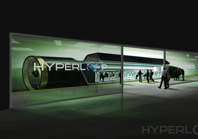 Passageiros embarcando para o trem de Hyperloop (projeto)