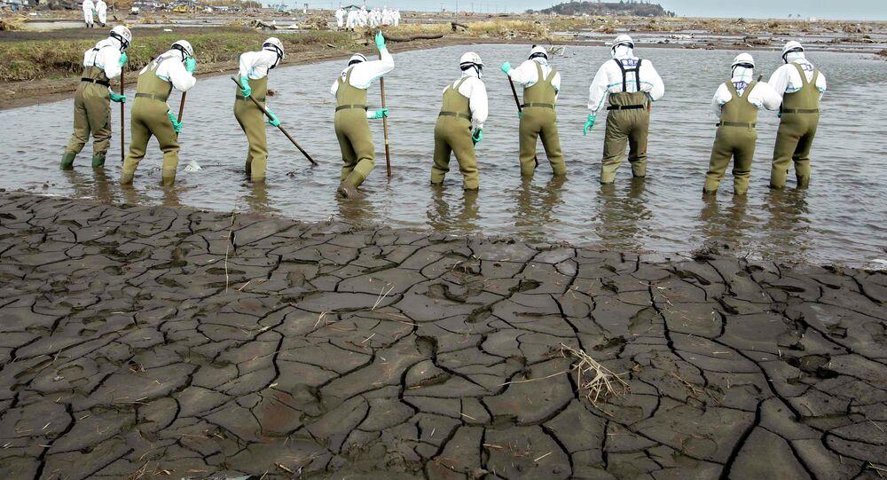 Agentes japoneses procurando por corpos em área de Fukushima após a tragédia de 2011