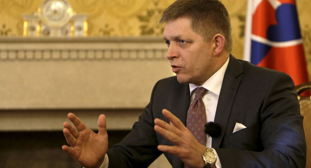 Slovakia's Prime Minister Robert Fico speaks during an interview with Reuters in Bratislava, Slovakia, February 22, 2016