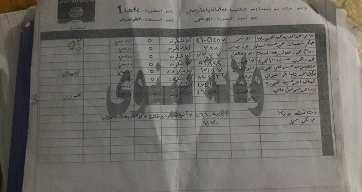 Uma página dos documentos achados no esconderijo do Daesh