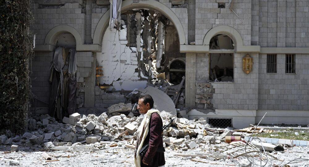 Coalizão da aviação dos países árabes causou ataques aéreos contra a residência do ex-presidente do Iêmen, Ali Abdullah Saleh