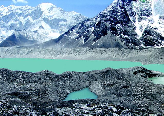 This undated hand out picture shows a view of Lake Imja Tsho in a valley situated south of Everest in Nepal. Himalayan glaciers are retreating fast and could disappear within the next 50 years, experts warned, 04 June 2007, at a conference in Nepal's capital looking at the regional effects of global warming