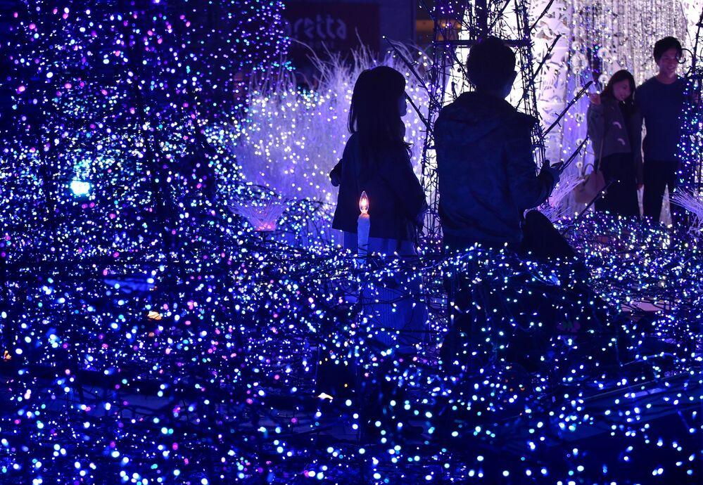 Habitantes da cidade de Tóquio visitam o Canyon d'Azur no âmbito da campanha de iluminação de natal, em 20 de novembro de 2016