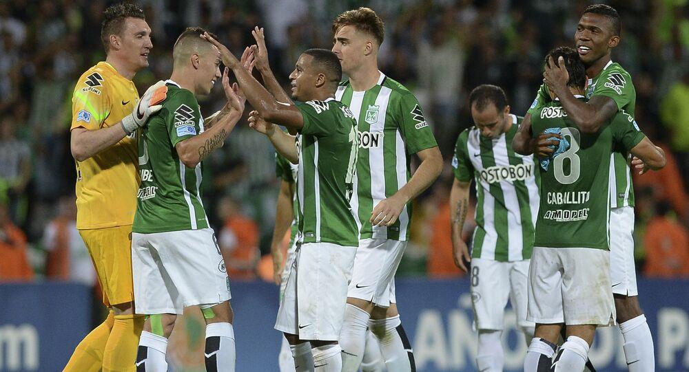 Jogadores do Atlético Nacional comemoram após confirmar vaga na final da Copa Sul-Americana
