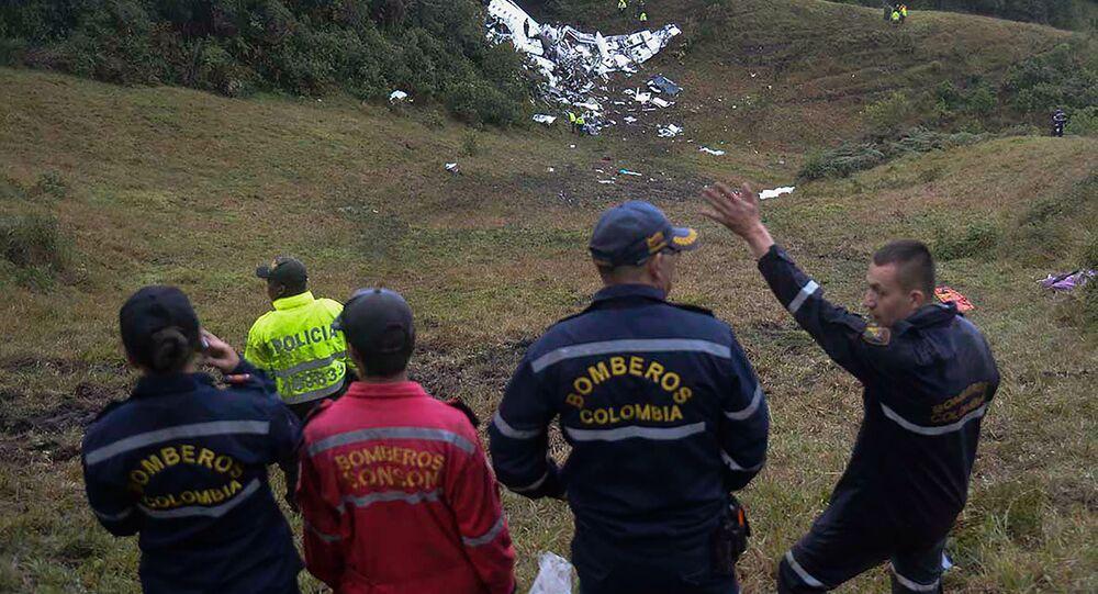 Imagem do local da queda do avião coma equipe da Chapecoense