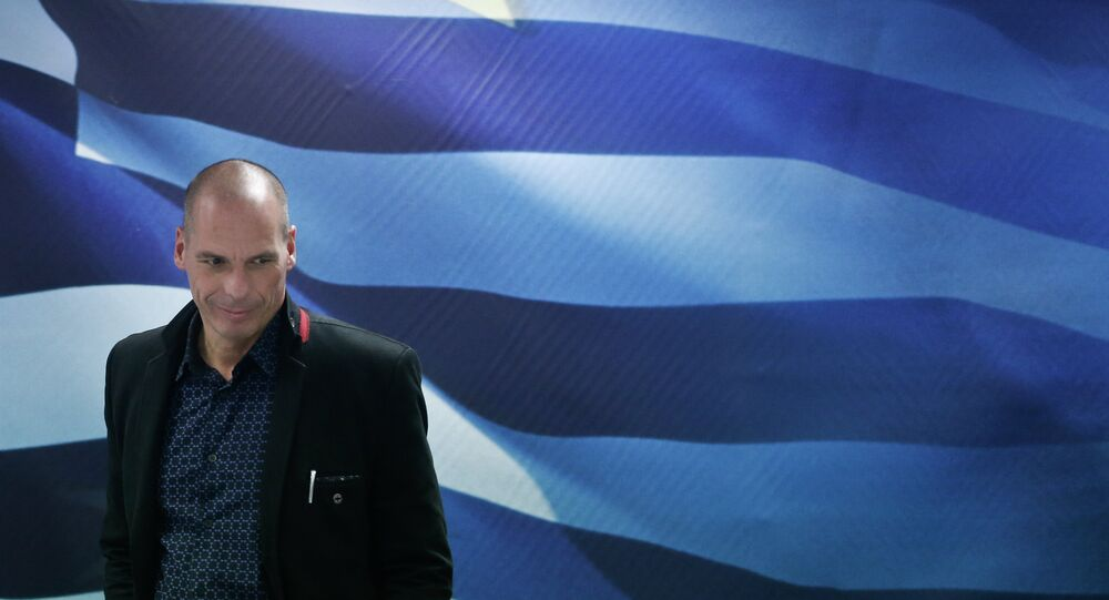 Greece's new Finance Minister Yanis Varoufakis arrives for a handover ceremony at the Finance Ministry in Athens, Wednesday, Jan. 28, 2015.