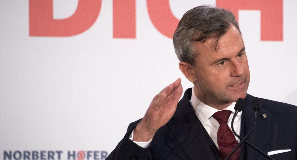 Na foto: Norbert Hofer, candidato à presidência da Áustria, em um discurso de 2 de dezembro de 2016