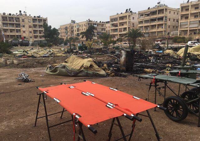 Hospital móvel do Ministério da Defesa russo em Aleppo foi bombardeado