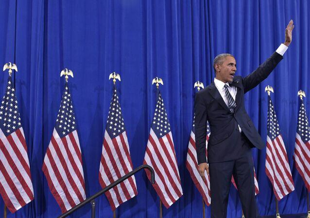 Presidente dos EUA, Barack Obama, depois do discurso na base aérea de MacDill, Tampa, Florida, 6 de dezembro de 2016
