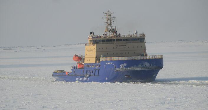 O lançamento do quebra-gelo Vladivostok, mais potente na Rússia
