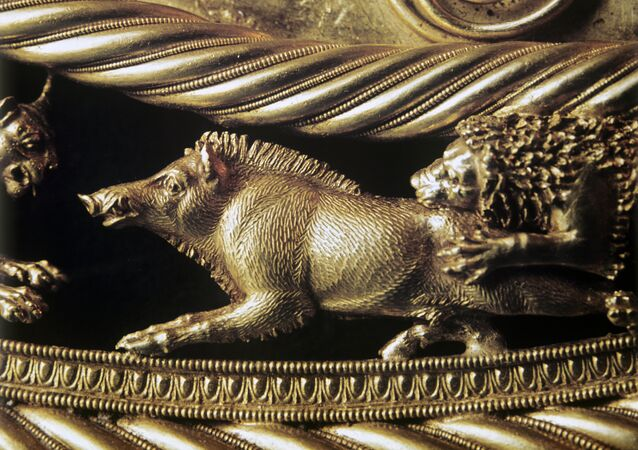 Fragmento de peça em ouro dos citas, exposto no Museu Allard Pierson, em Amsterdã.