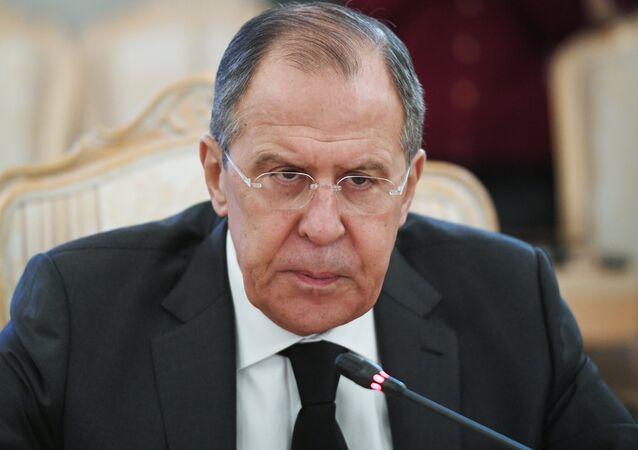 O ministro das Relações Exteriores russo, Sergei Lavrov, durante o encontro com os seus homólgos turco e iraniano em Moscou, Rússia, 20 de dezembro de 2016