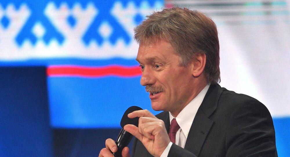 Dmitry Peskov, assessor de imprensa do presidente russo, Vladimir Putin, fala antes da coletiva anual em 23 de dezembro de 2016