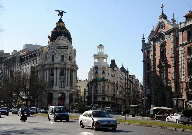 Edificio Metropolis building on Gran Via Street. Madrid