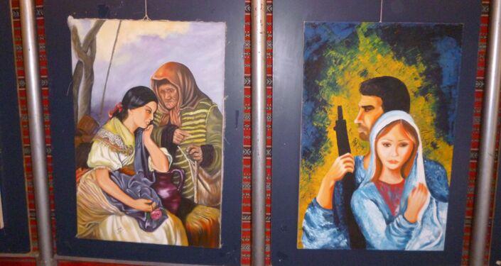 Pinturas de um artista paralítico sírio, Shadi Suleiman