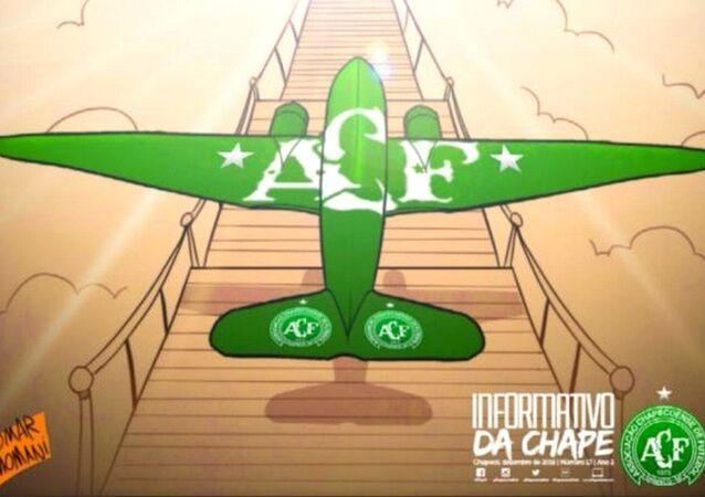 No informativo de fim de ano da Chape, os jogadores foram convocados por Deus para jogar no céu