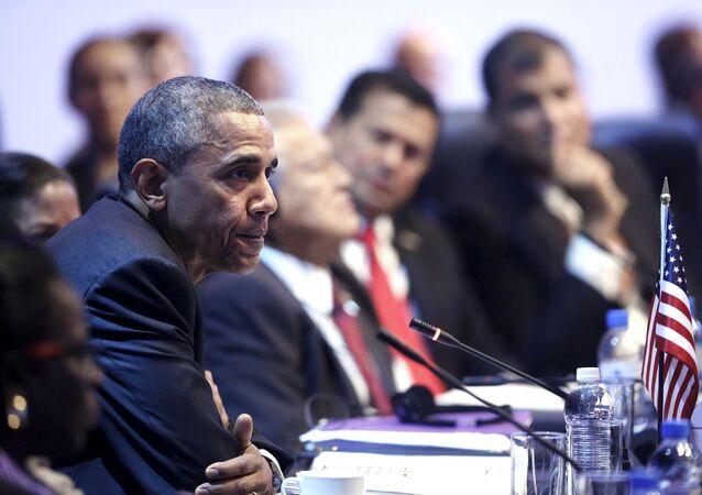 Presidente dos Estados Unidos Barack Obama durante a VII Cúpula das Américas