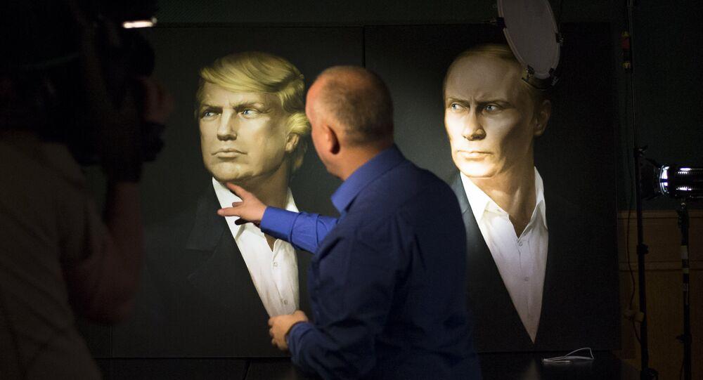 Retrato com Vladimir Putin e Donald Trump