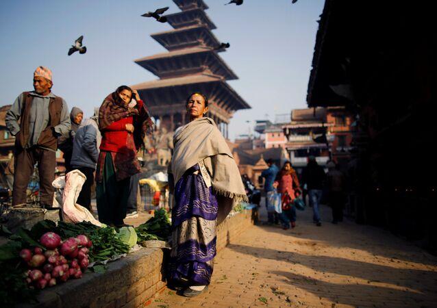 Mercado em Nepal