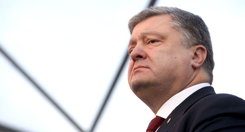 Presidente ucraniano Pyotr Poroshenko na cerimônia do fim de construção da cobertura do objeto Abrigo da usina nuclear de Chernobyl, Ucrânia (foto de arquivo)